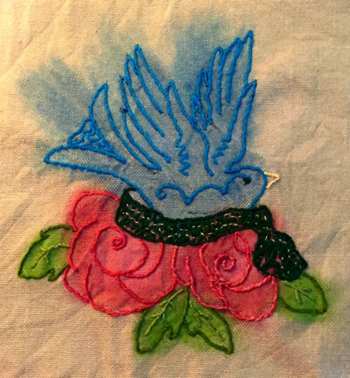Finished bird embroidery