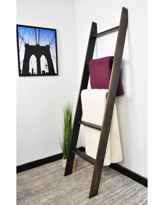 Blanket-ladder-6ft-ladder-quilt-display-black-ladder-contemporary-home-towel-rack-quilt-ladder-decorative-ladder